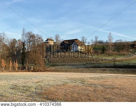 Old Traditional Architecture And Rural Family Farms On The Hill Of The Au Peninsula In Lake Zurich (