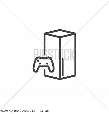 Gamepad And Console Line Icon. Linear Style Sign For Mobile Concept And Web Design. Video Game Conso