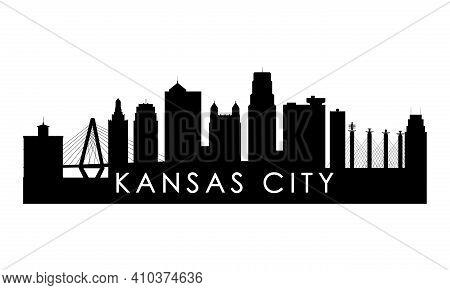 Kansas City Skyline Silhouette. Black Kansas City City Design Isolated On White Background.