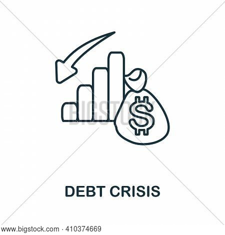 Debt Crisis Icon. Simple Element From Risk Management Collection. Creative Debt Crisis Icon For Web
