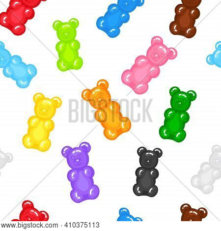 Gummy Bear Jelly Sweet Candy Seamless Pattern With Amazing Flavor Flat Style Design Vector Illustrat