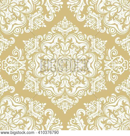 Orient Classic Yellow And White Pattern. Seamless Abstract Background With Vintage Elements. Orient