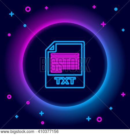 Glowing Neon Line Txt File Document. Download Txt Button Icon Isolated On Black Background. Text Fil