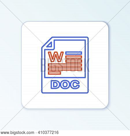 Line Doc File Document. Download Doc Button Icon Isolated On White Background. Doc File Extension Sy