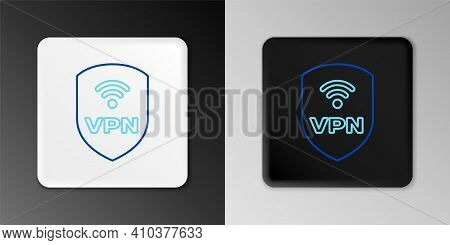 Line Shield With Vpn And Wifi Wireless Internet Network Symbol Icon Isolated On Grey Background. Vpn