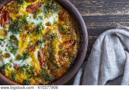 Ceramic Bowl With Vegetable Frittata, Simple Vegetarian Food. Frittata With Egg, Tomato, Pepper, Oni