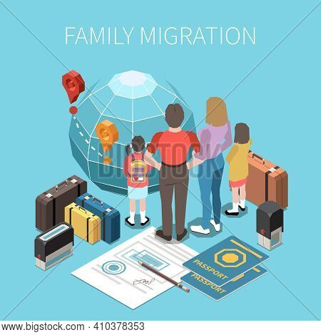 Population Mobility Migration Displacement Isometric Composition With Characters Of Parents With Chi