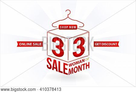 3.3 Sale, 3.3 Online Sale, Woman Of Months Sale, Cube Model Number Sign Red Ribbon With Isolated Bac