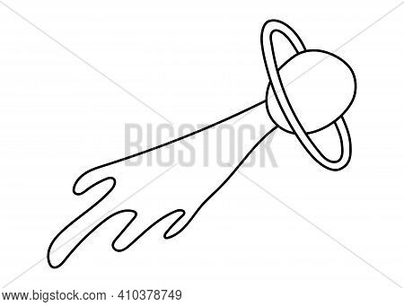 Comet Or Meteor. Astronomical Or Celestial Objects. Heavenly Bodies In Space. Vector Hand Drawn Illu