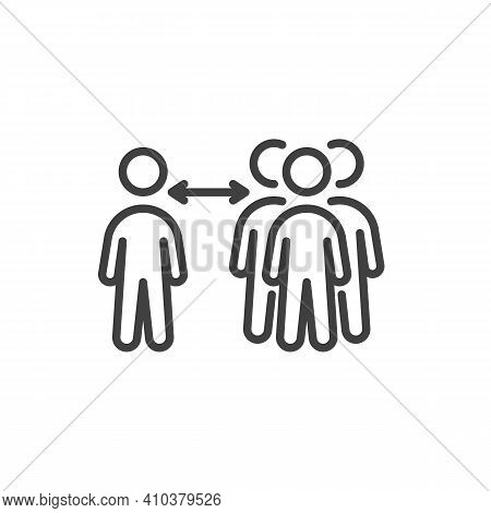 Social Distancing At Public Place Line Icon. Linear Style Sign For Mobile Concept And Web Design. Ke