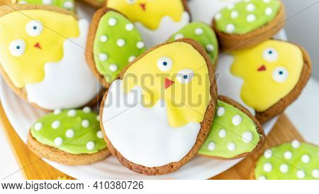 Cute Iced Sugar Biscuits On A Plate. Easter Still Life. Family Cooking Creative Ideas. Easter Baking