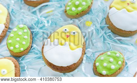 Cute Easter Card With Egg Shaped Cookies. Cute Chicken Sugar Cookie. Iced Biscuits With Bright Decor