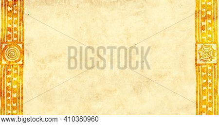 Horizontal  background with ethnicity ornaments and old paper texture. Grunge banner with frame, african patters and vintage paper texture of yellow color. Mock up template. Copy space for text