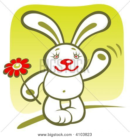 Cartoon happy rabbit with flower on a green background. poster