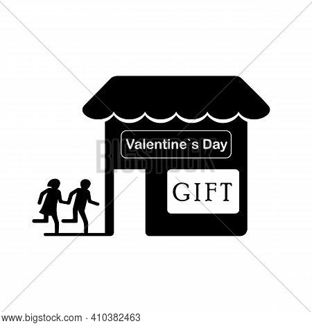 Silhouettes Of People Couple, Shop, Valentine Shopping, Mall, Sale, Couple And Lovers, Gift