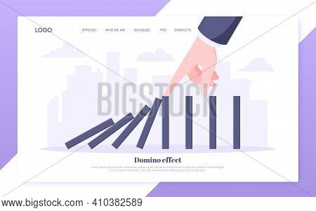 Domino Effect Business Concept. Hand Stops Chain Reaction Of Falling Board Game Blocks Of Dominoes F