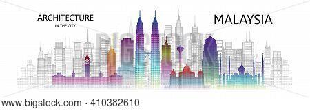 Modern Architecture Cityscape Skyscraper Malaysia Of Asia Colorful Art. Travel Malaysia Architecture