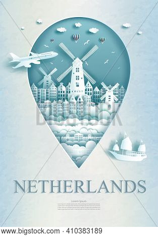 Travel Netherlands Architecture Monument Pin In Europe With Ancient City And Building, Business Trav