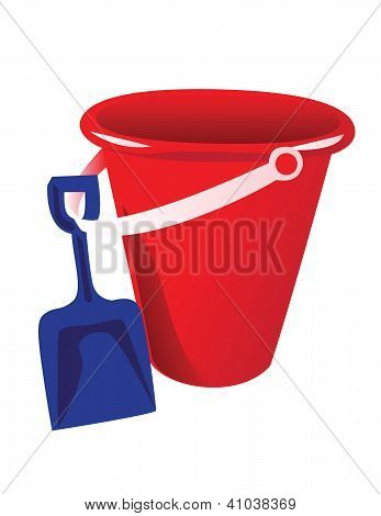 Red bucket and blue shovel vector