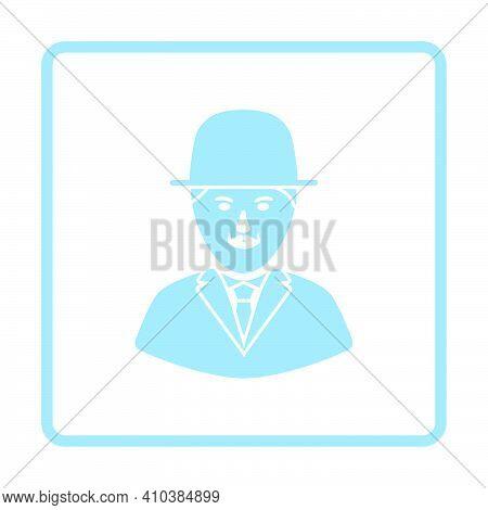 Detective Icon. Blue Frame Design. Vector Illustration.