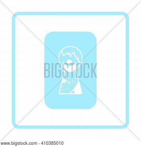 Criminal Peeping Through Keyhole Icon. Blue Frame Design. Vector Illustration.