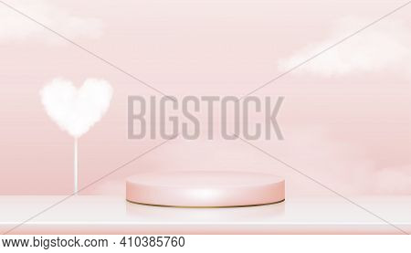 3d Showcase Display With Pearl And Heart Cloud In Pink Pastel And Yellow Gold Stand,vector Realistic