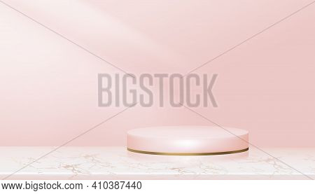 Minumal Podium Display With Pink And Yellow Gold Cylinder Stand On Rose Gold Foil Marble,vector Real