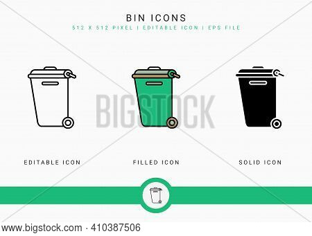Bin Icons Set Vector Illustration With Solid Icon Line Style. Dust Garbage Basket Concept. Editable