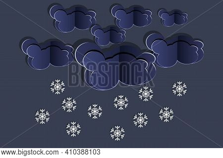 Paper Cut Clouds With Snowflakes On Dark Sky Background. Origami Art Snowing Season. Forecast Concep