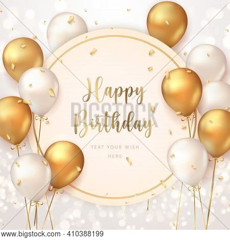 Elegant Golden Ballon Happy Birthday Celebration Card Banner Template
