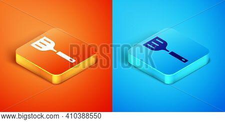 Isometric Spatula Icon Isolated On Orange And Blue Background. Kitchen Spatula Icon. Bbq Spatula Sig