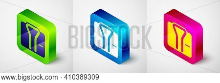 Isometric Bathrobe Icon Isolated On Grey Background. Square Button. Vector