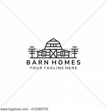 Barn Home Minimalist Line Art Icon Logo Template Vector Illustration Design, Farm House Minimalist L