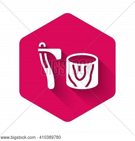 White Wooden Axe In Stump Icon Isolated With Long Shadow Background. Lumberjack Axe. Axe Stuck In Wo