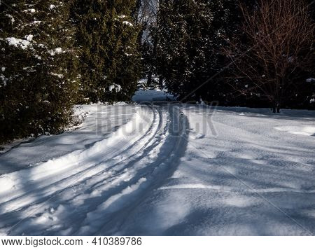 A Cross-country Ski Track Forms Curved Trail That Disappears Into The Distance. The Parallel Lines O