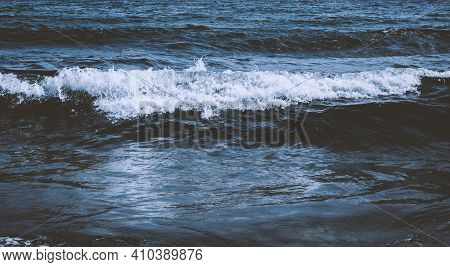 Ripples On The Sea. Sea Water Surface And Splash, Dark Blue Ocean Water For Natural Background