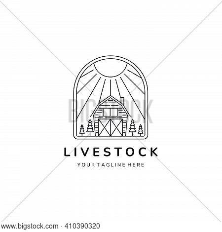 livestock logo line art emblem vector template design, barn logo line art emblem