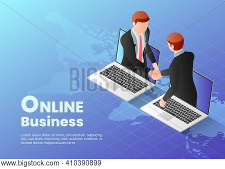 3d Isometric Web Banner Businessmen Having Online Agreement And Shaking Hands Through Laptop Screen.