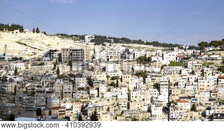 View Of Jerusalem Old City, Temple Mount And The Ancient Jewish Cemetery From The Mount Of Olives, I