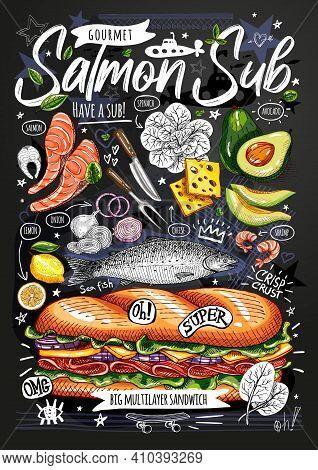 Food Poster, Ad, Fast Food, Ingredients, Menu, Sandwich, Sub, Snack. Sliced Veggies, Cheese, Salmon