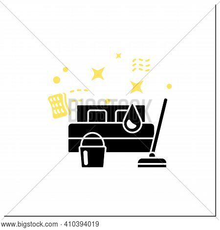 Bedroom Cleaning Glyph Icon. Home Cleanup. Bed Dry Cleanup. Mopping, Wiping, Dusting. Cleaning Servi