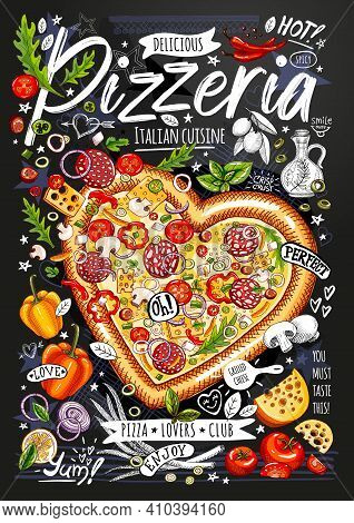 Food Poster, Ad, Fast Food, Ingredients, Pizzeria Menu, Pizza, Heart. Sliced Veggies, Cheese, Pepper