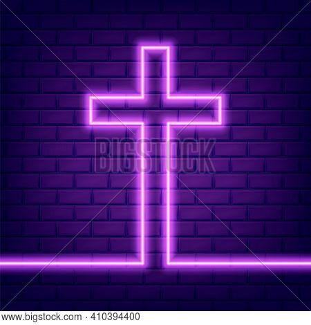 Christian Cross Glowing Neon Sign Or Led Strip Light. Vector Illustration.