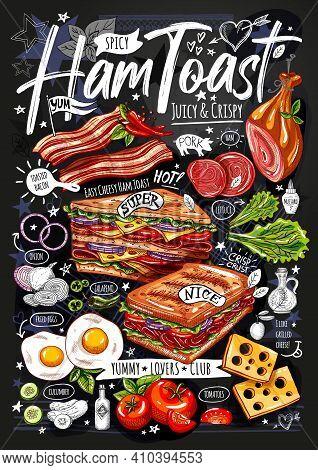 Food Poster, Ad, Fast Food, Set, Menu, Toast, Sandwich, Ham, Pork, Bacon, Grilled Eggs Lettuce Snack