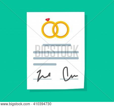 Marriage Contract Or Prenuptial Agreement Legal Document Vector Flat Cartoon Icon, Prenup Wedding Ce