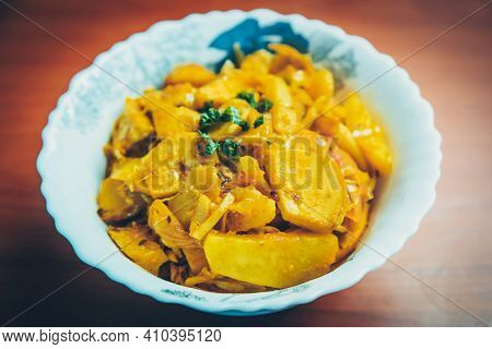 Bamboo Shoots Curry Cooked In Nepali Indian Style Served In A Bowl. Alu Tama
