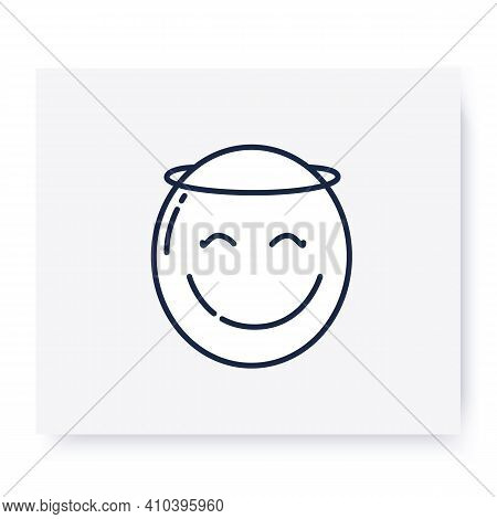 Face With Halo Line Icon. Angel Emoticon, Smiling Face. Facial Expression Emoji. Isolated Vector Ill