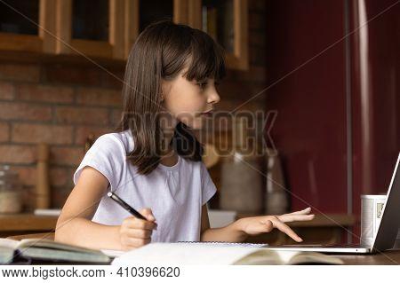 Small Latino Girl Child Study Online On Computer