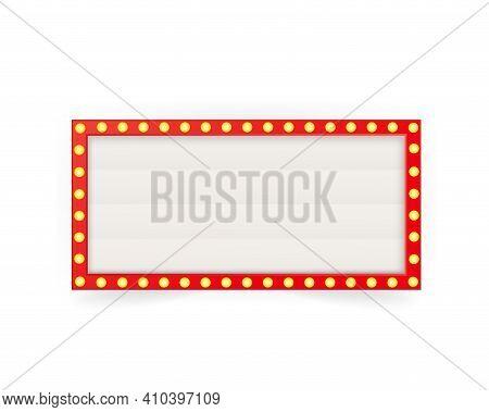 Retro 3d Advertising With Retro Lightbox On Background For Banner Design. Vector Design Banner. Vect