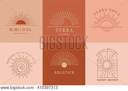 Bohemian Linear Logos, Icons And Symbols, Sun Design Templates, Terracotta Geometric Abstract Design